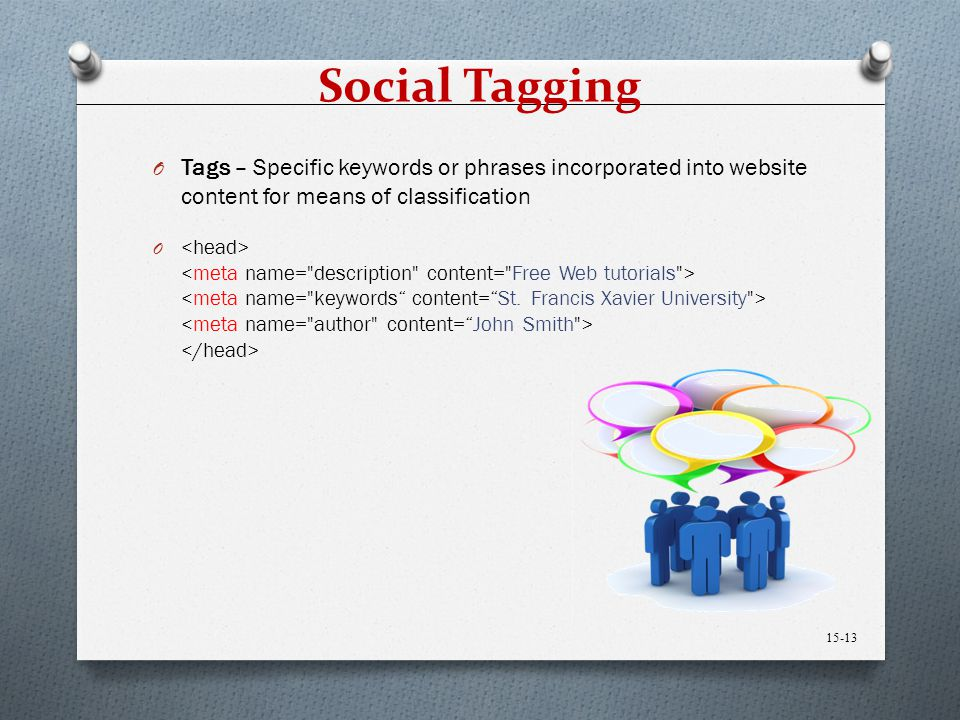 Social Tagging Tags – Specific keywords or phrases incorporated into website content for means of classification.