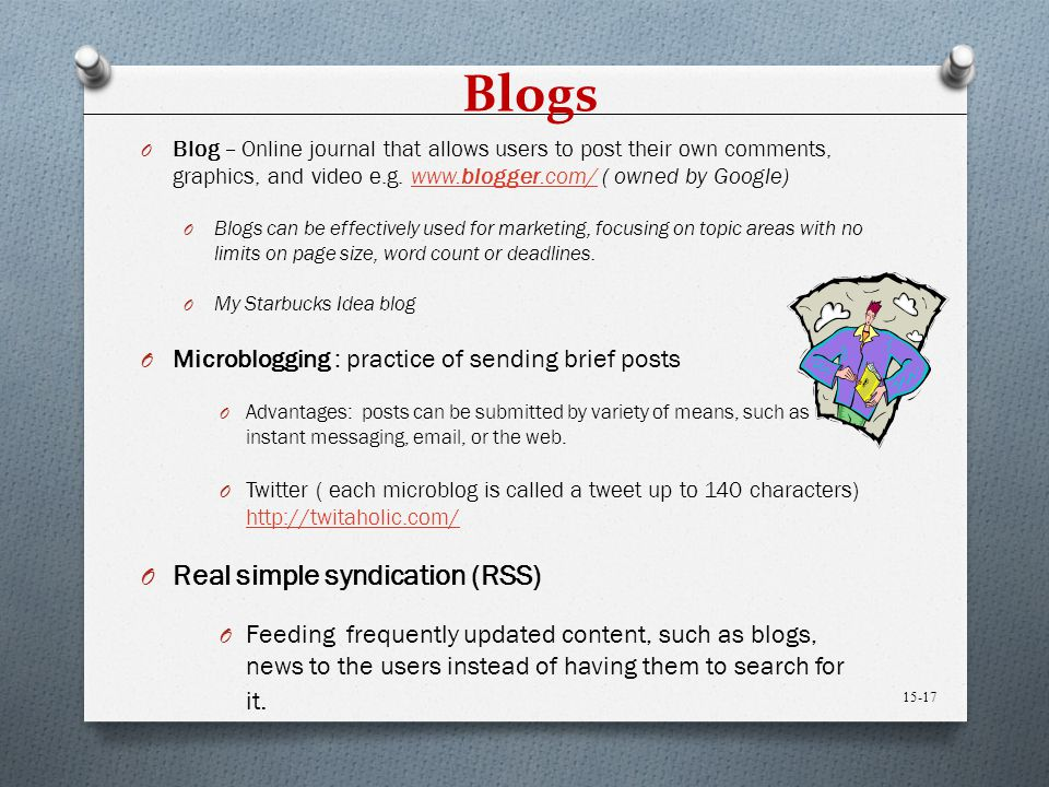 Blogs Real simple syndication (RSS)