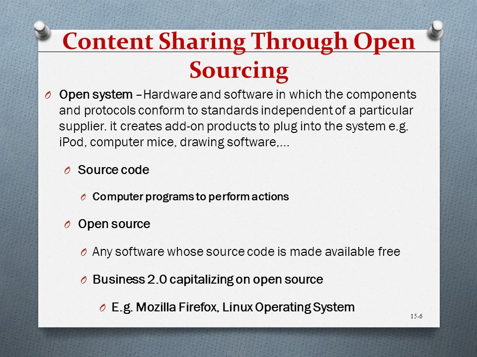 Content Sharing Through Open Sourcing