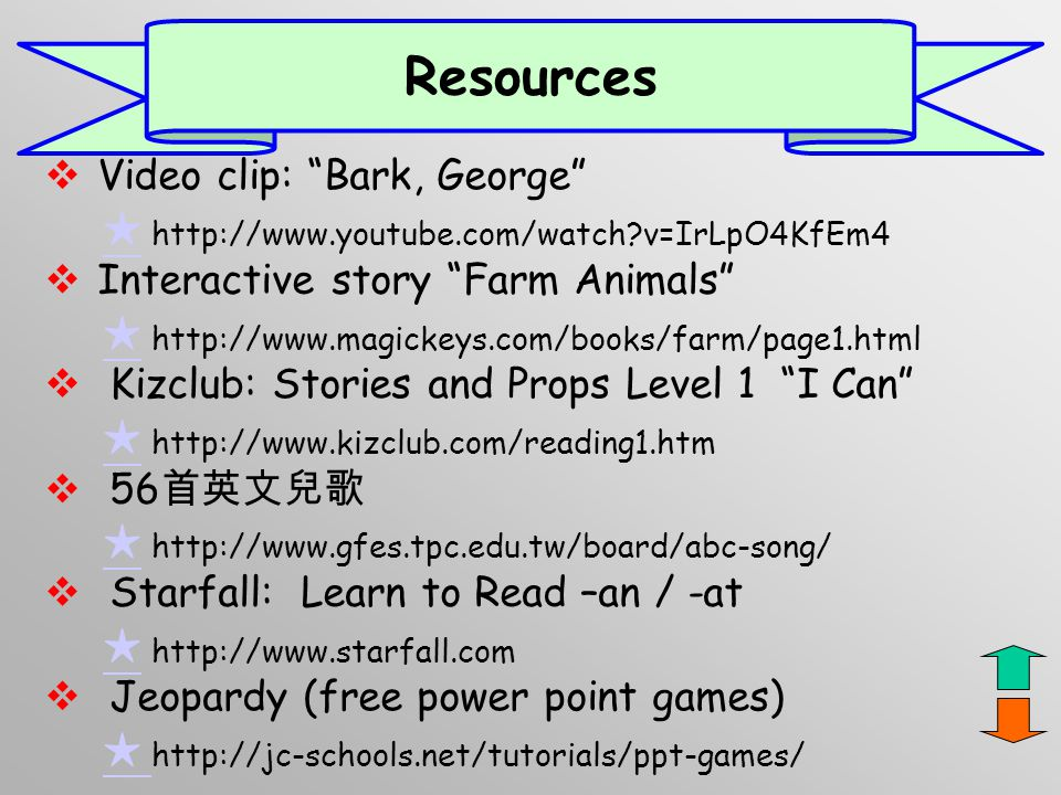 Resources Video clip: Bark, George Interactive story Farm Animals