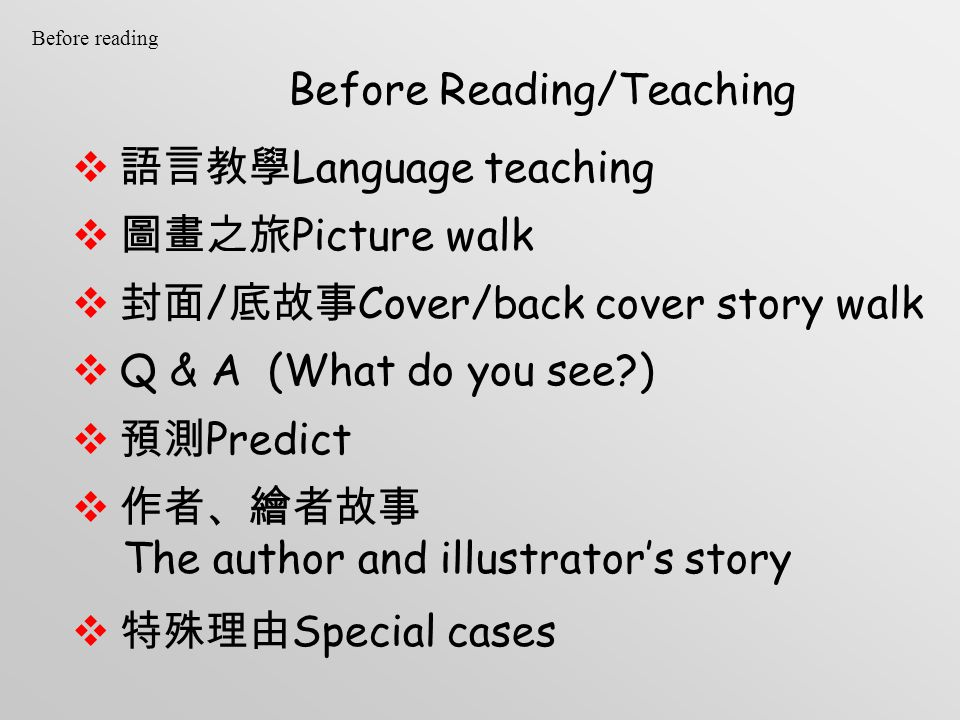 Before Reading/Teaching