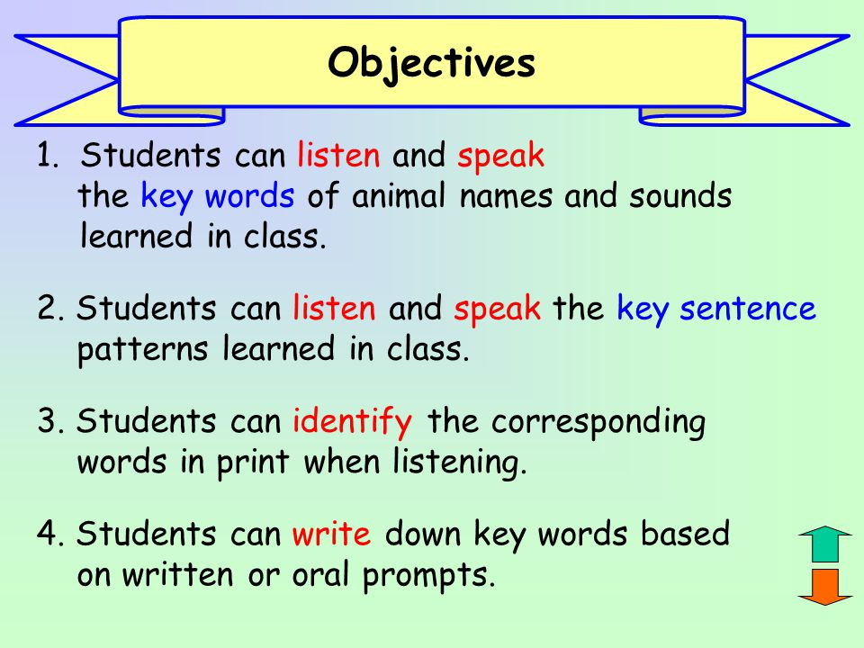 Objectives Students can listen and speak
