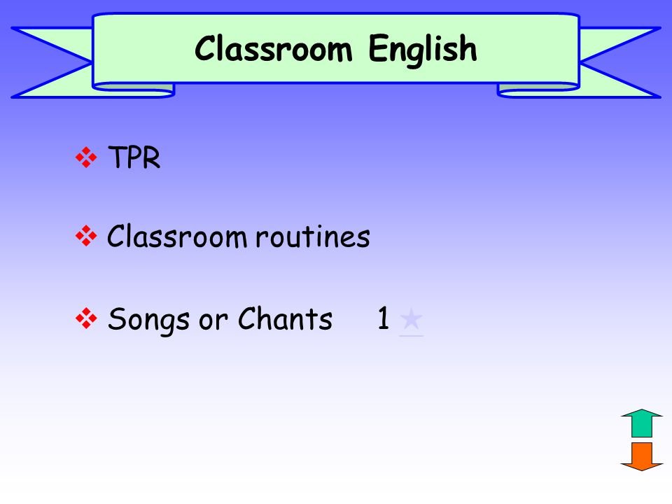 Classroom English TPR Classroom routines Songs or Chants 1 ★