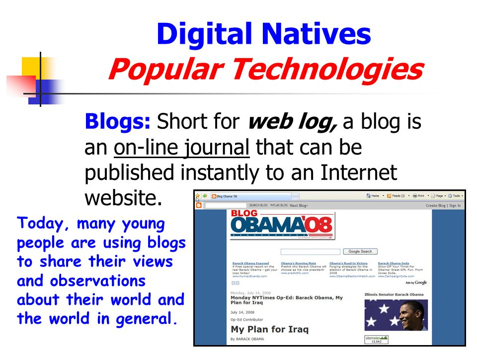 Digital Natives Popular Technologies