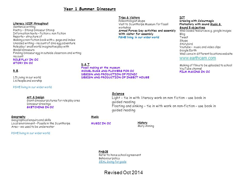 Revised Oct 2014 Year 1 Summer Dinosaurs www.earthcam.com Science
