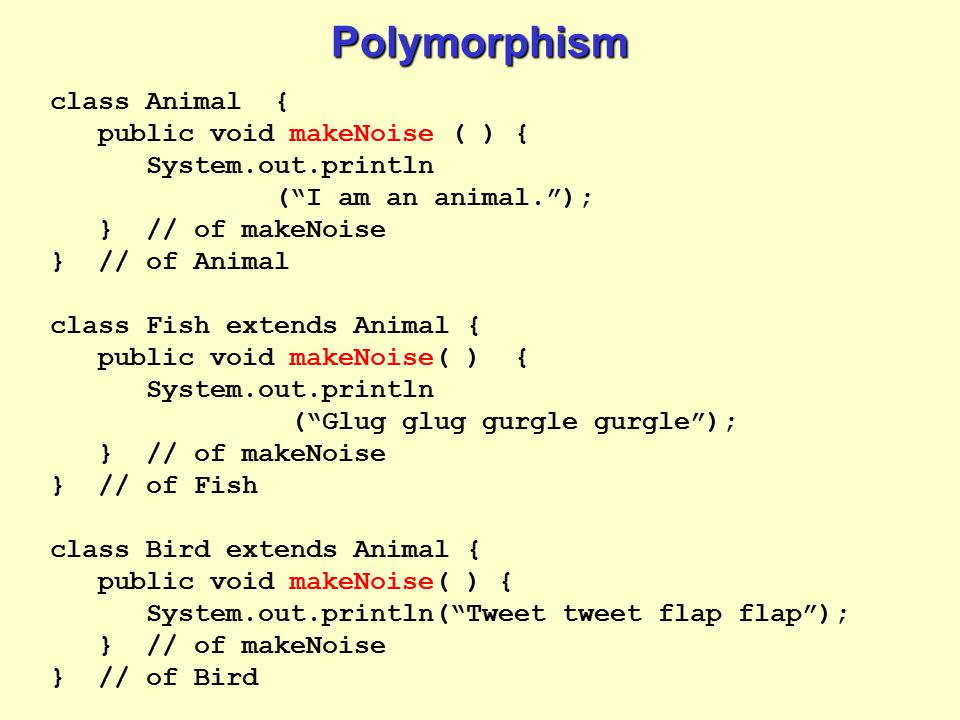 Polymorphism class Animal { public void makeNoise ( ) {