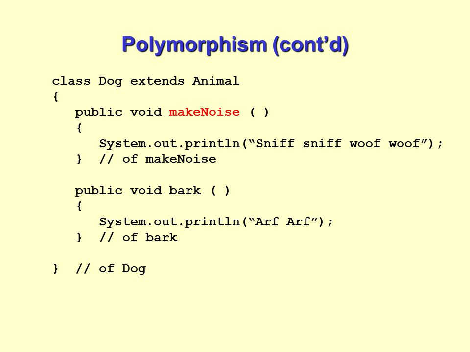Polymorphism (cont'd)