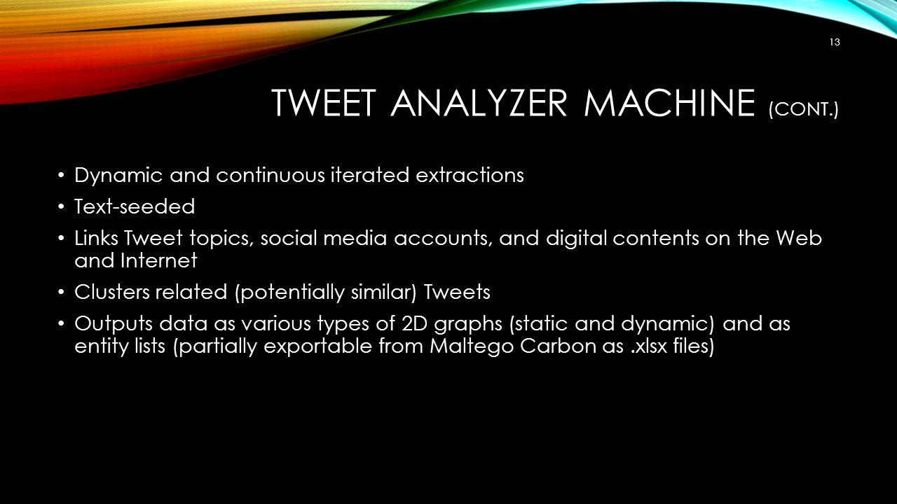 Tweet Analyzer Machine (Cont.)