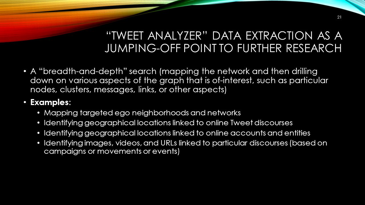 Tweet Analyzer Data Extraction as a Jumping-Off Point to Further Research