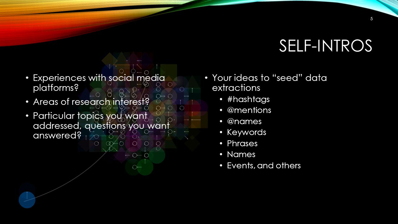 Self-Intros Experiences with social media platforms