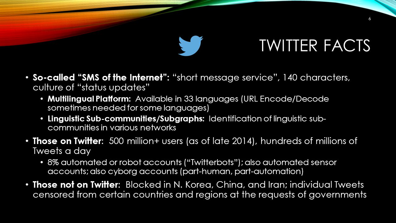 Twitter Facts So-called SMS of the Internet : short message service , 140 characters, culture of status updates