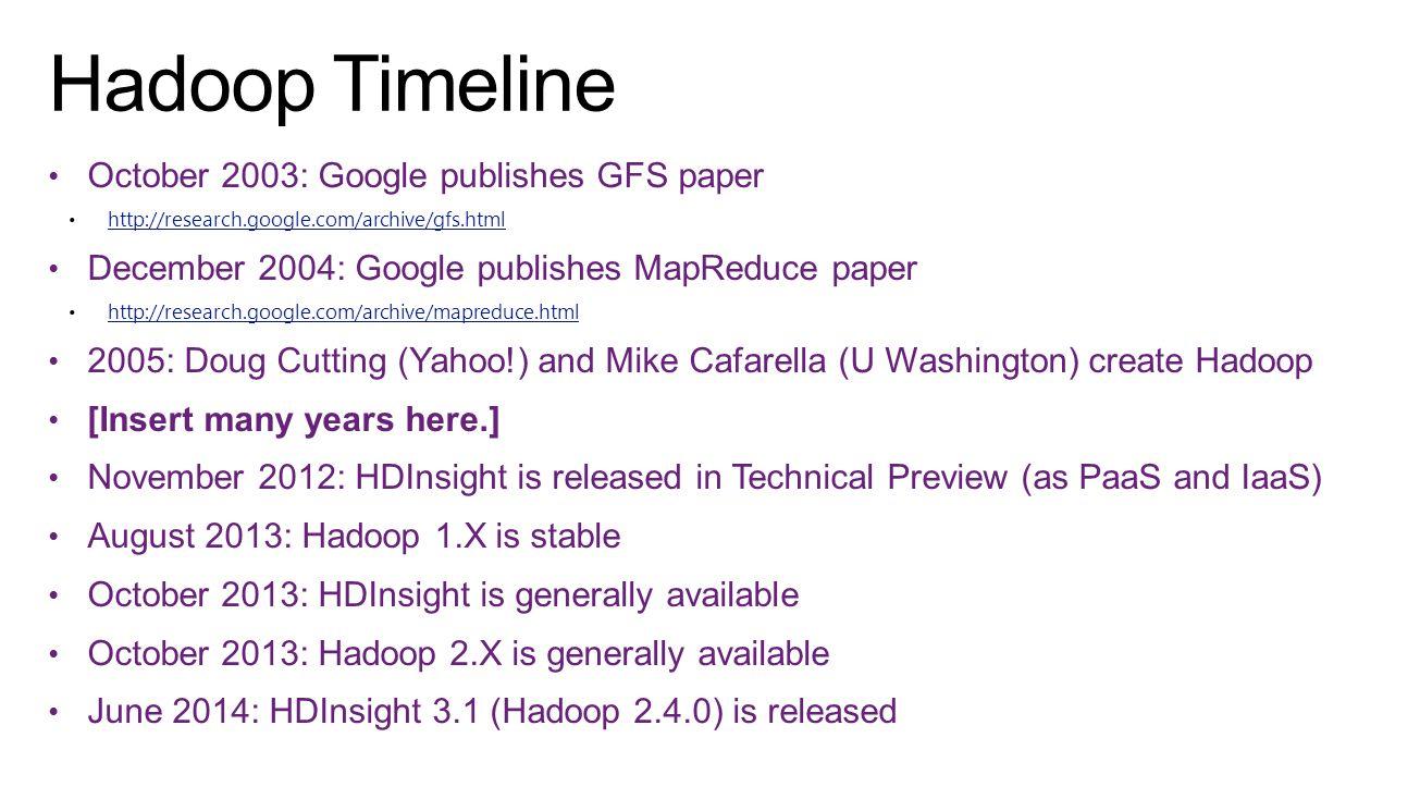 Hadoop Timeline October 2003: Google publishes GFS paper