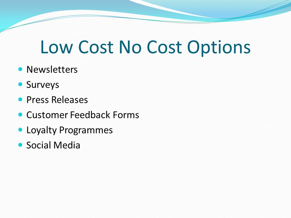 Low Cost No Cost Options