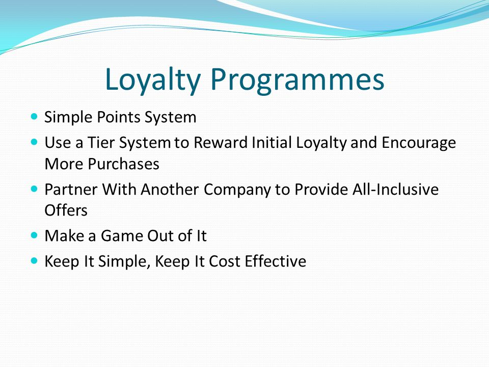 Loyalty Programmes Simple Points System