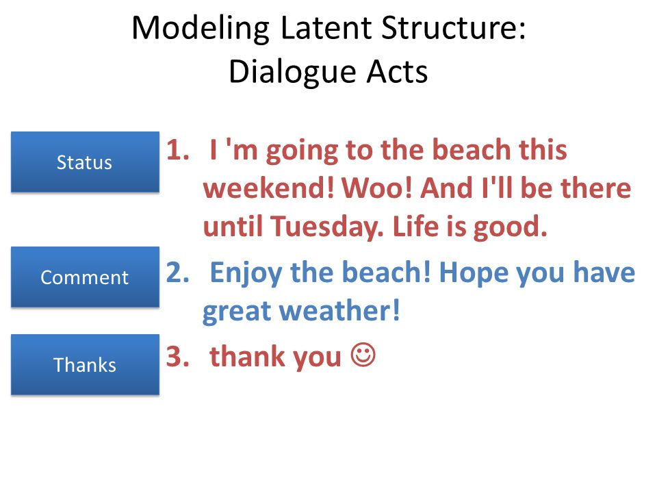 Modeling Latent Structure: Dialogue Acts