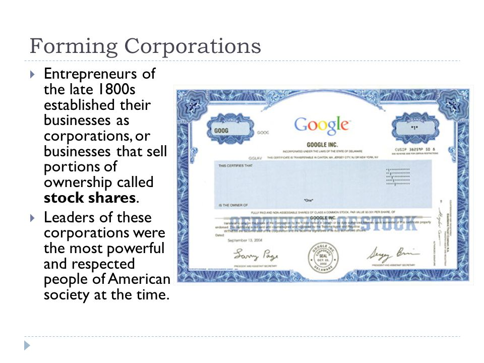 Forming Corporations