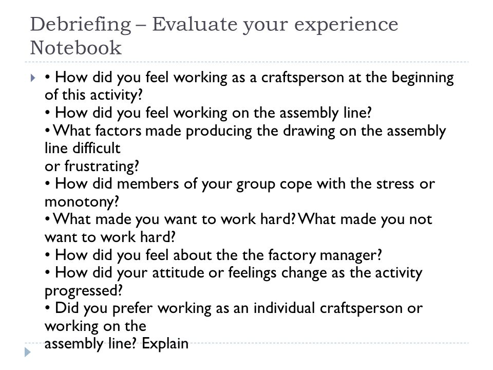 Debriefing – Evaluate your experience Notebook