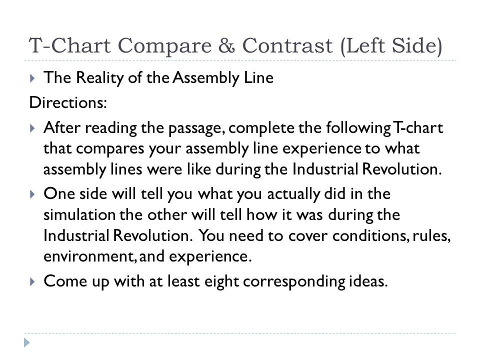 T-Chart Compare & Contrast (Left Side)