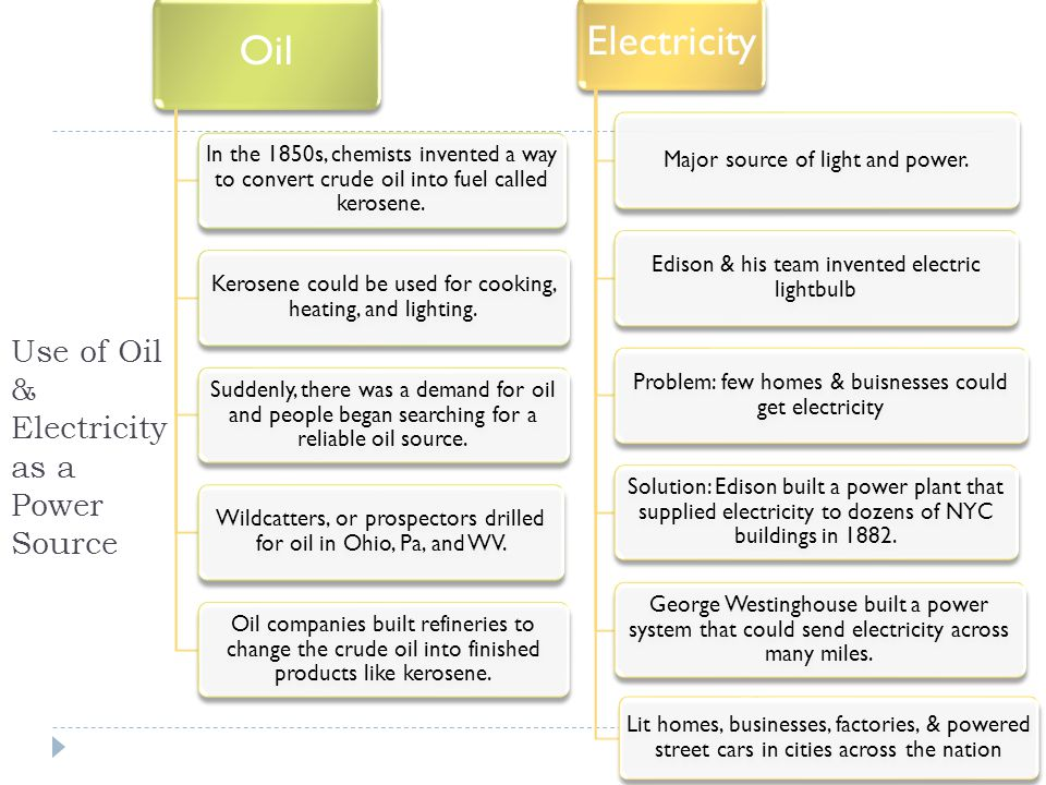 Use of Oil & Electricity as a Power Source