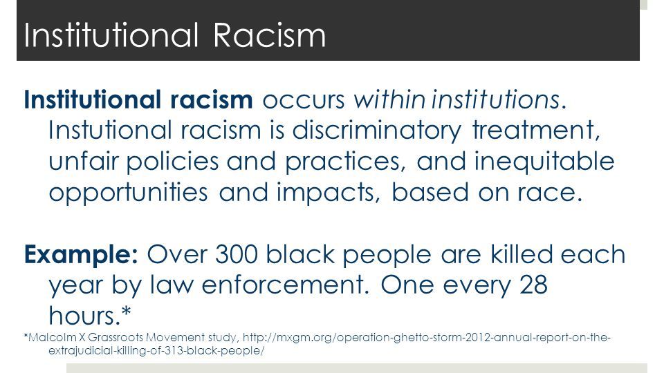 Institutional Racism Black people are disproportionately targets of police violence.