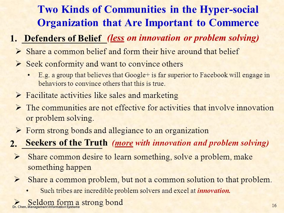 Two Kinds of Communities in the Hyper-social Organization that Are Important to Commerce