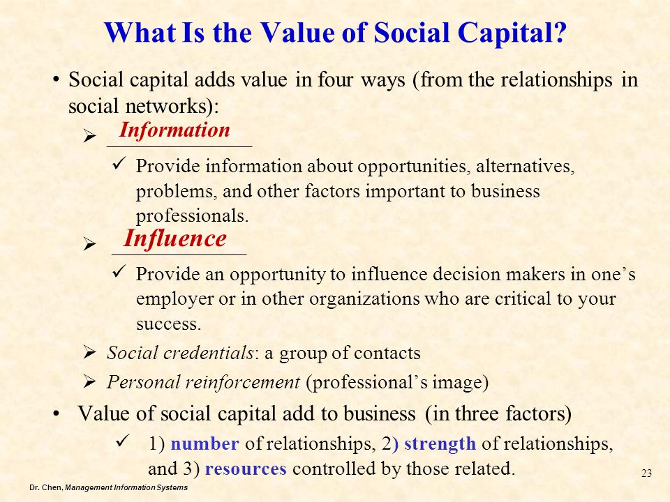What Is the Value of Social Capital