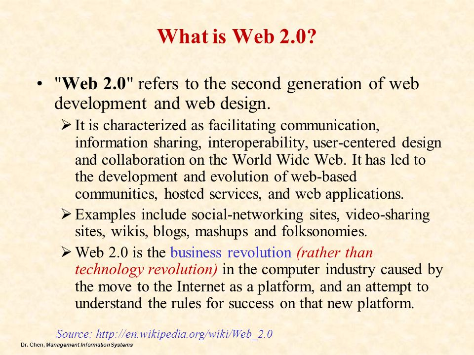 What is Web 2.0 Web 2.0 refers to the second generation of web development and web design.