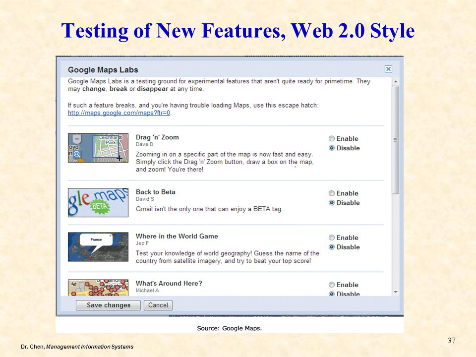 Testing of New Features, Web 2.0 Style