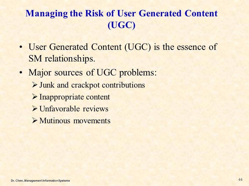 Managing the Risk of User Generated Content (UGC)