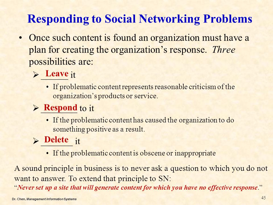 Responding to Social Networking Problems