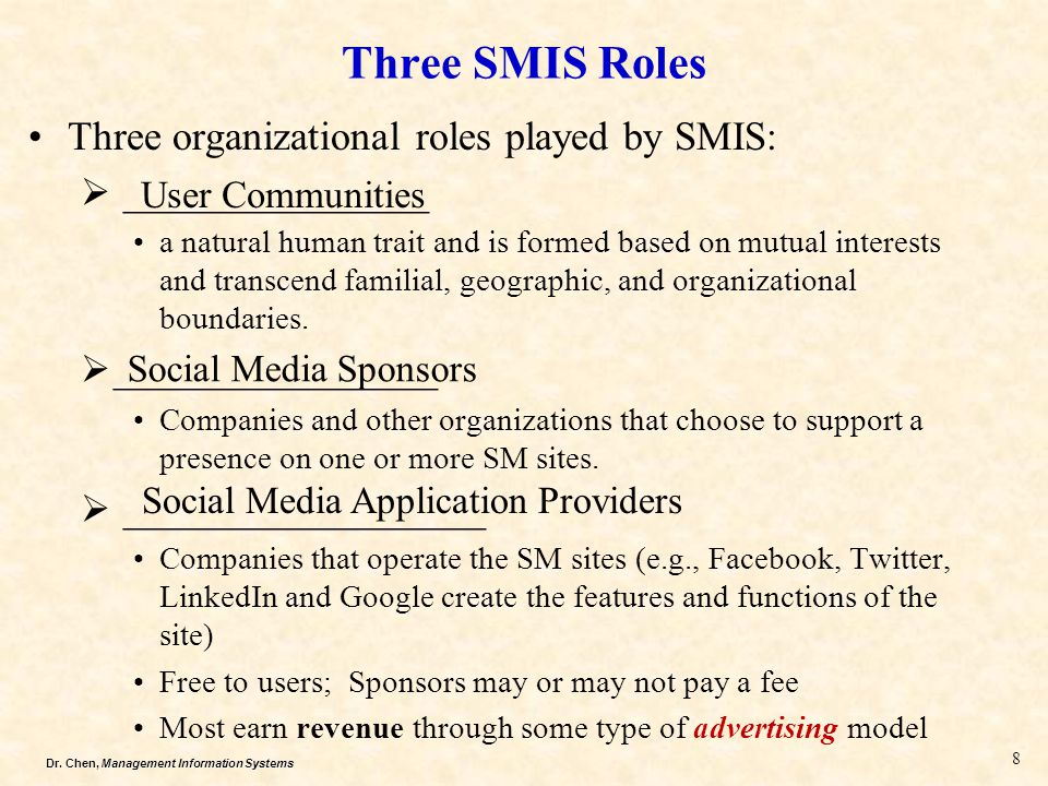 Three SMIS Roles Three organizational roles played by SMIS: