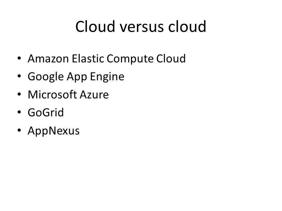 Cloud versus cloud Amazon Elastic Compute Cloud Google App Engine