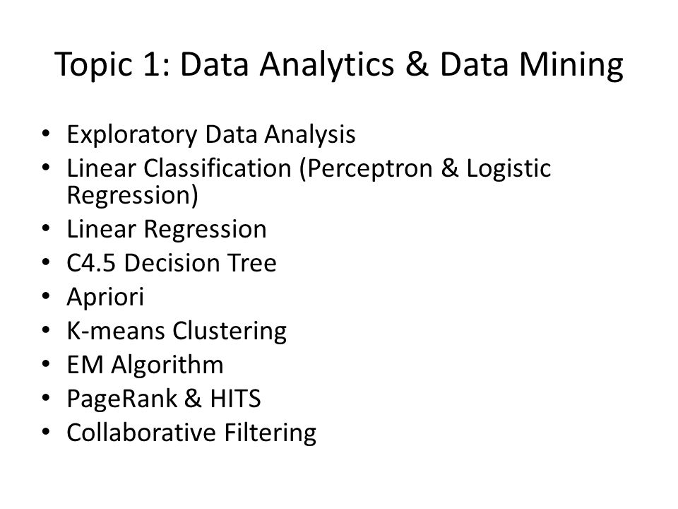 Topic 1: Data Analytics & Data Mining