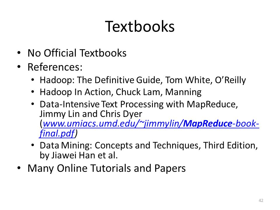 Textbooks No Official Textbooks References: