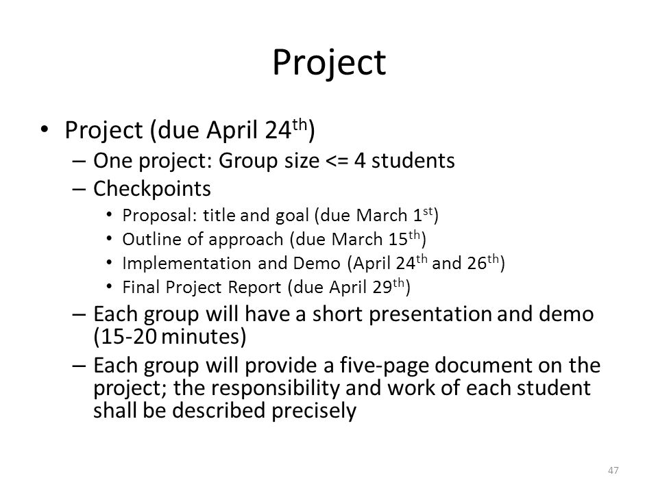 Project Project (due April 24th)
