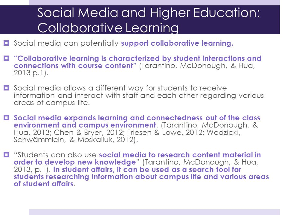 Social Media and Higher Education: Collaborative Learning
