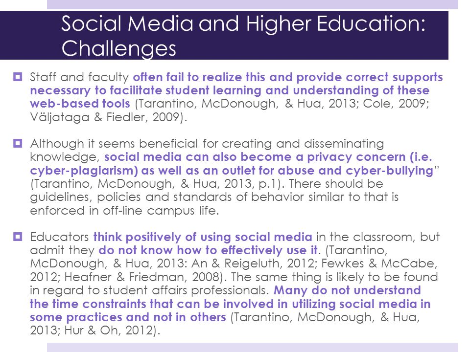 Social Media and Higher Education: Challenges