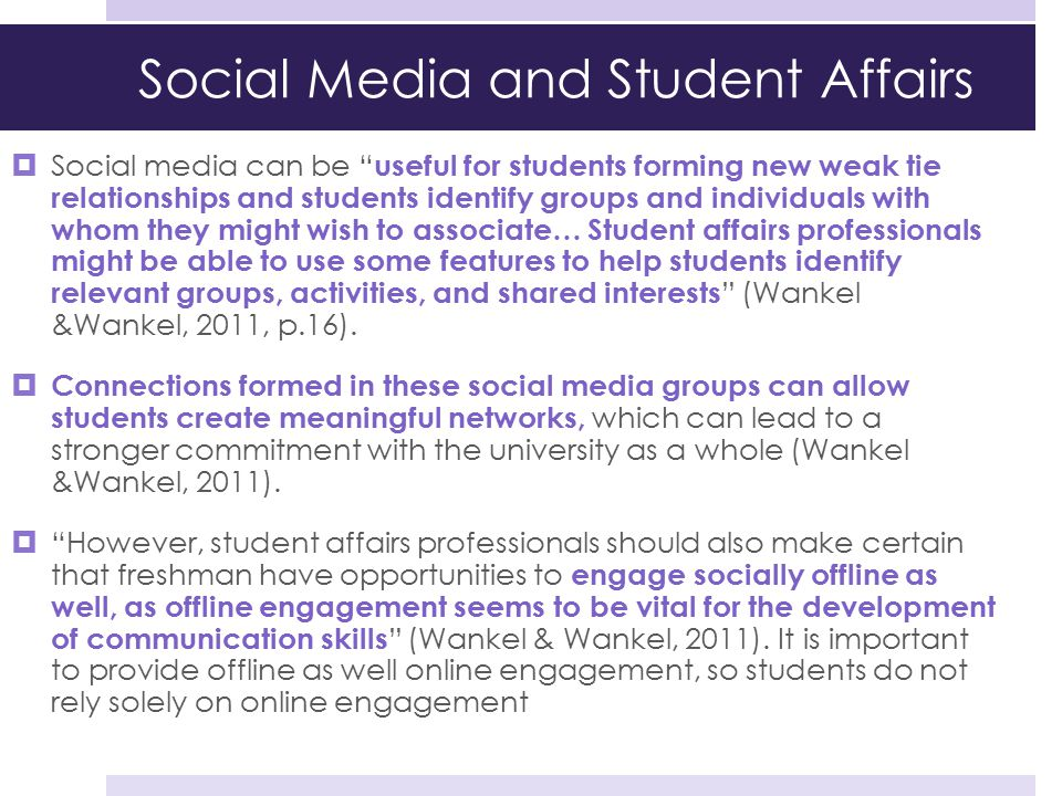 Social Media and Student Affairs