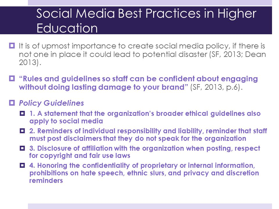 Social Media Best Practices in Higher Education