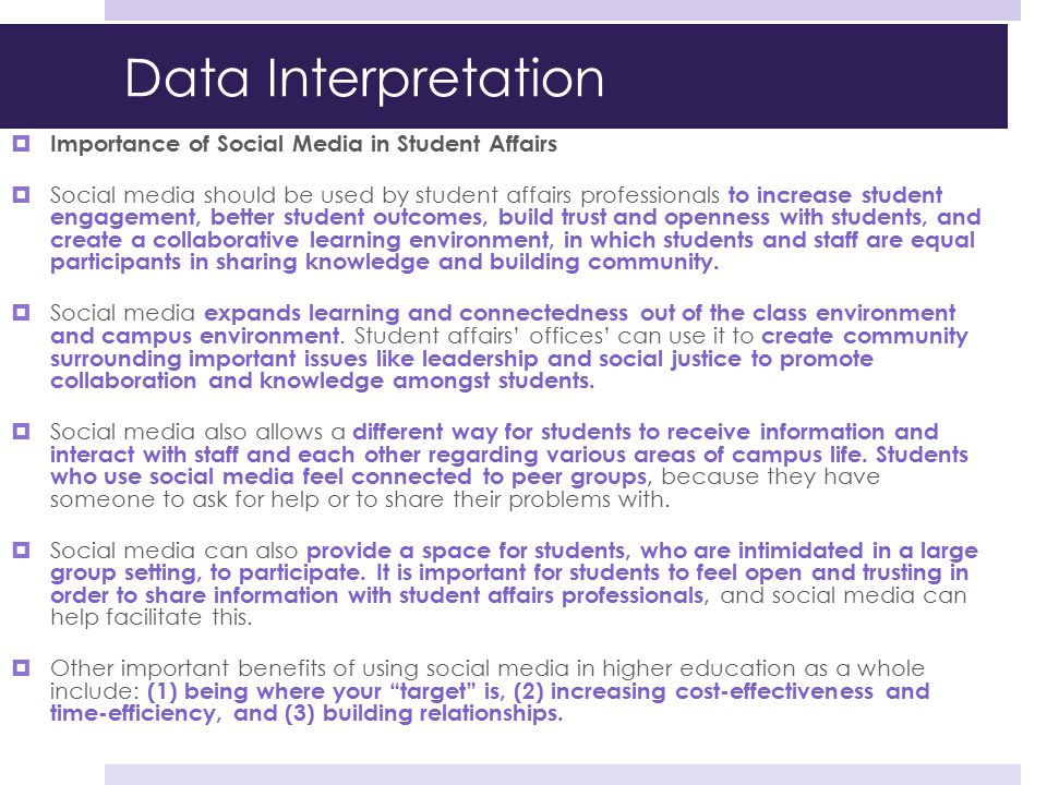 Data Interpretation Importance of Social Media in Student Affairs