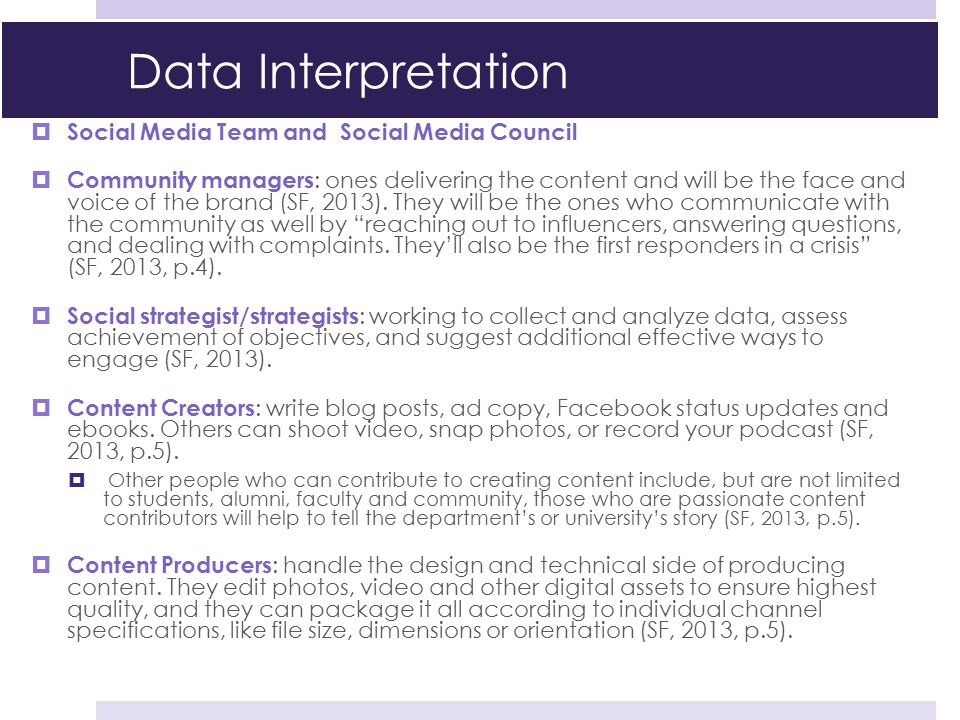 Data Interpretation Social Media Team and Social Media Council