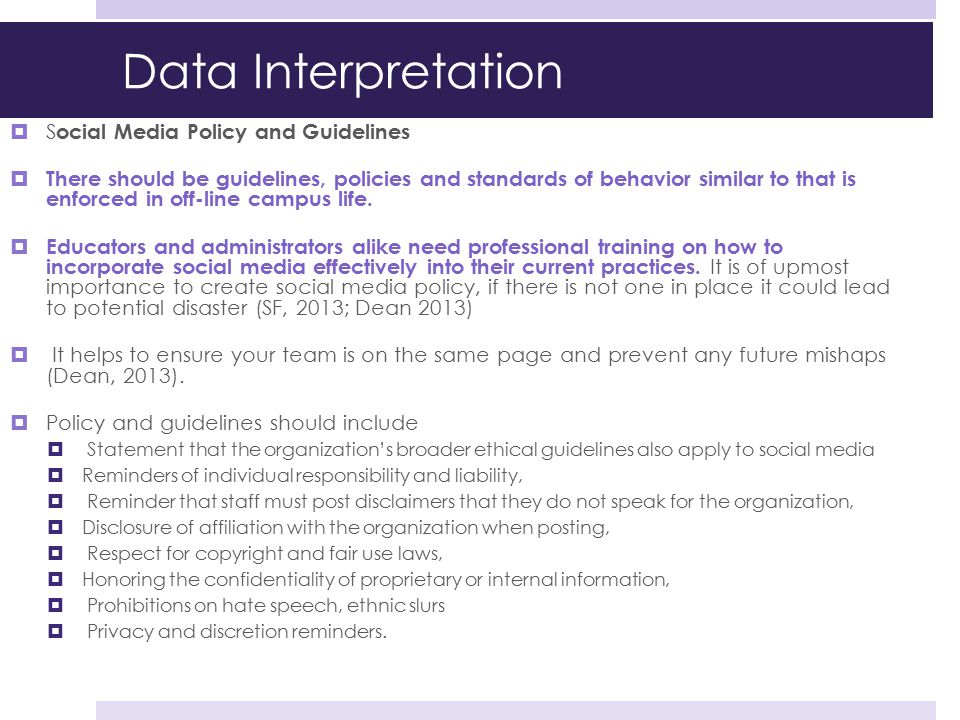 Data Interpretation Social Media Policy and Guidelines