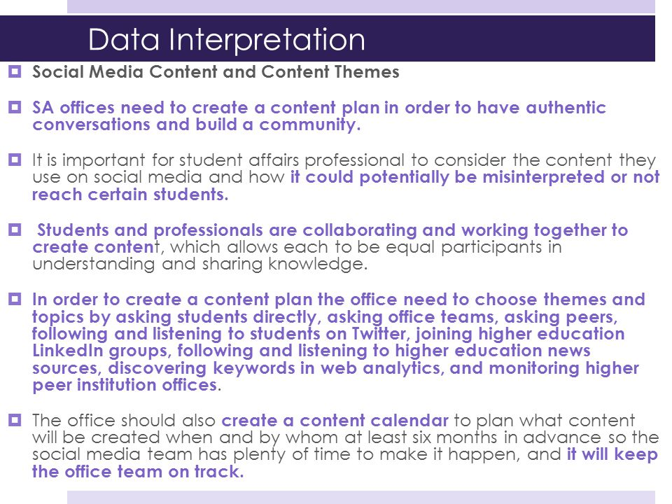 Data Interpretation Social Media Content and Content Themes