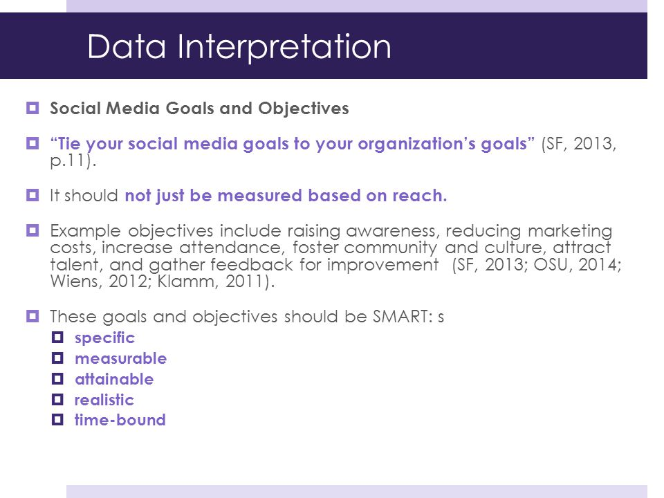 Data Interpretation Social Media Goals and Objectives