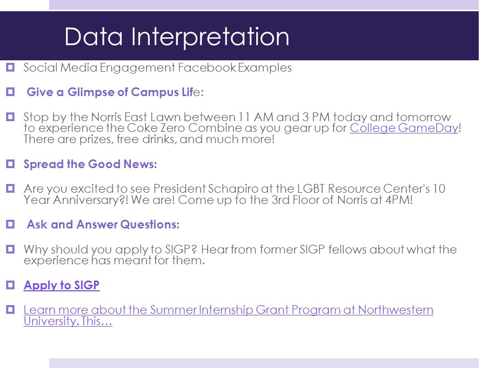 Data Interpretation Social Media Engagement Facebook Examples