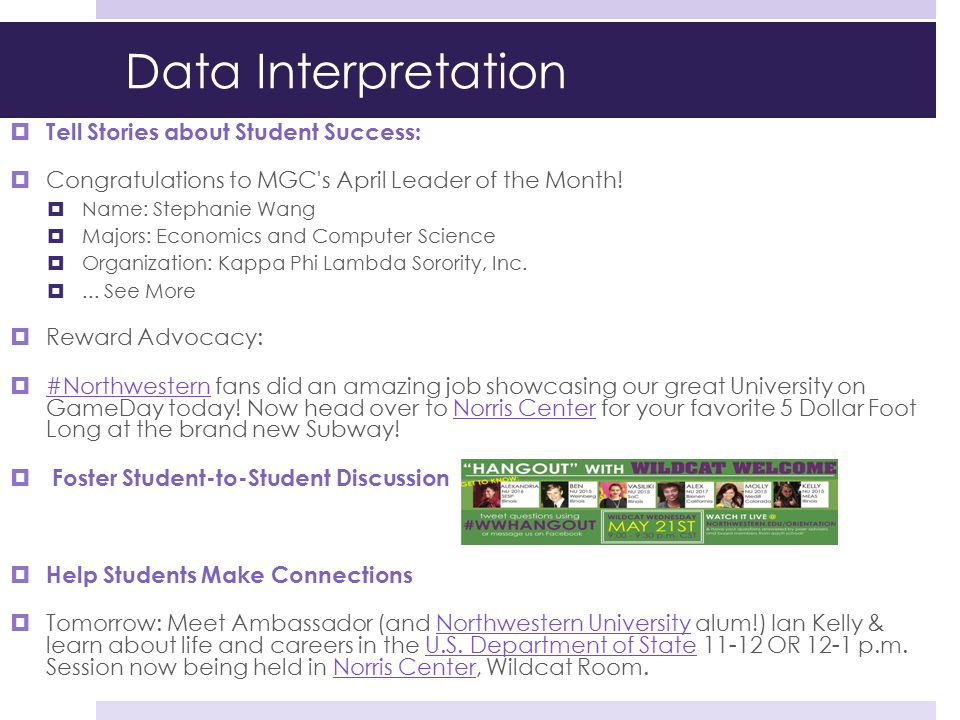 Data Interpretation Tell Stories about Student Success: