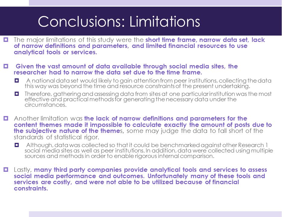 Conclusions: Limitations