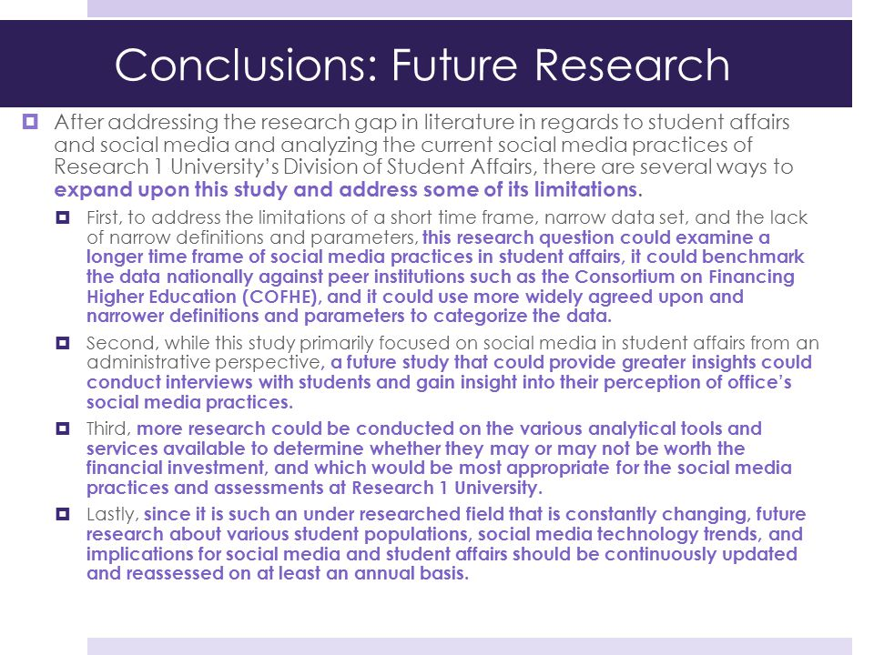 Conclusions: Future Research