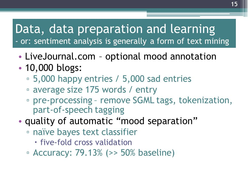 Data, data preparation and learning - or: sentiment analysis is generally a form of text mining