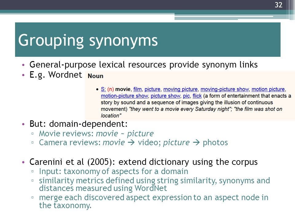 Grouping synonyms General-purpose lexical resources provide synonym links. E.g. Wordnet. But: domain-dependent: